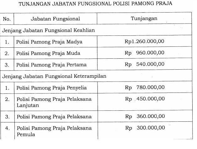 Tabel Tunjangan Jabatan Satpol PP