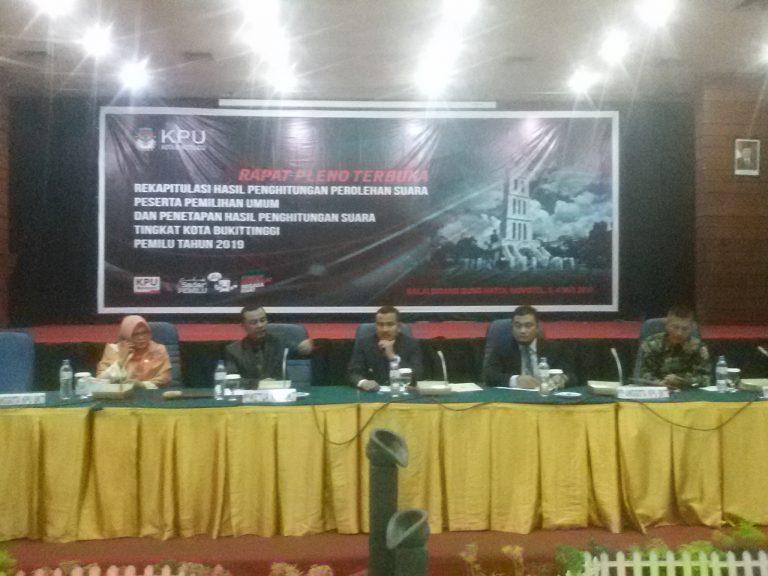 KPU Bukittinggi Selesai Lakukan Rapat Pleno Terbuka Rekapitulasi Suara Pemilu 2019