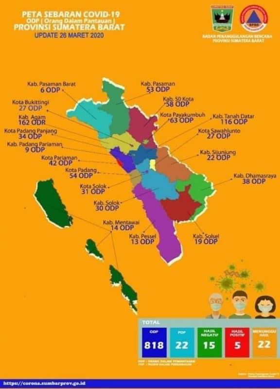 Peta sebaran pantauan Covid19 di Sumbar - courtesy - Pemprov.Sumbar