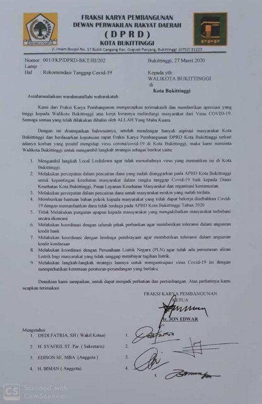 Surat rekomendasi Fraksi Karya Pembangunan ke Walikota Bukittinggi