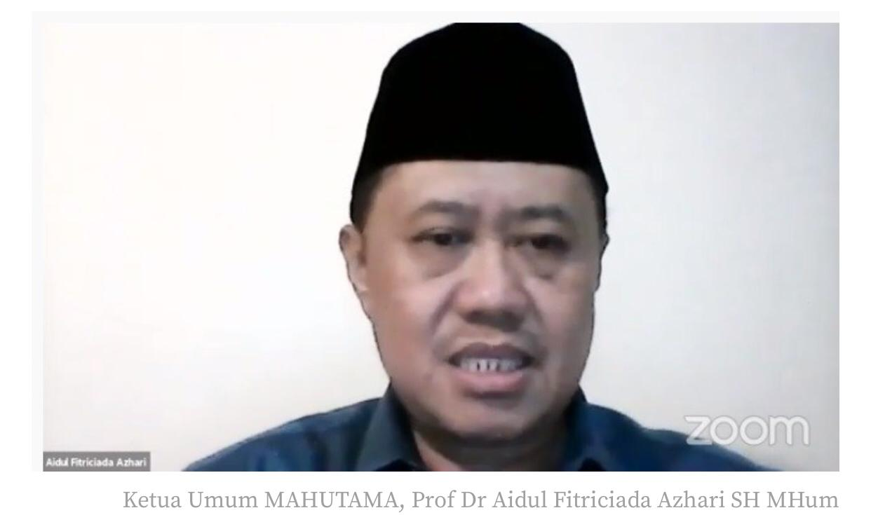Zoom Meeting, Ketua Umum MAHUTAMA Aidul Fitriciada Azhari foto. istimewa