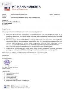 Surat PT Hana Huberta ke Presiden, doc. istimewa