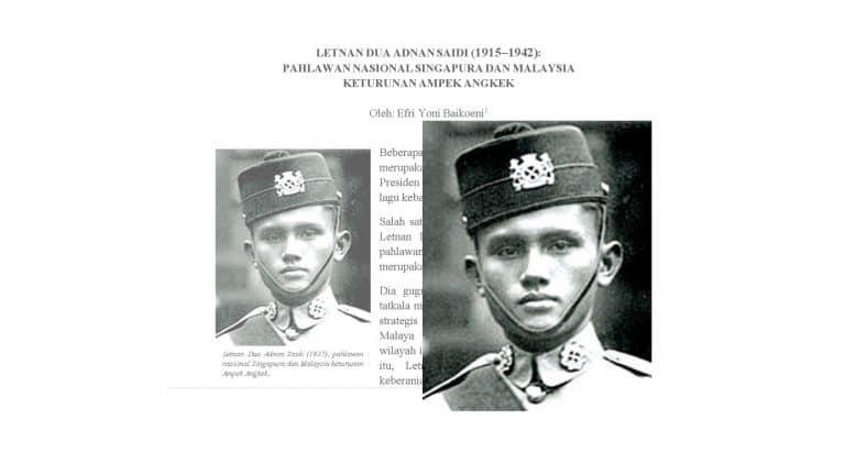 Letda. Adnan Saidi: Pahlawan Singapura Keturunan Ampek Angkek