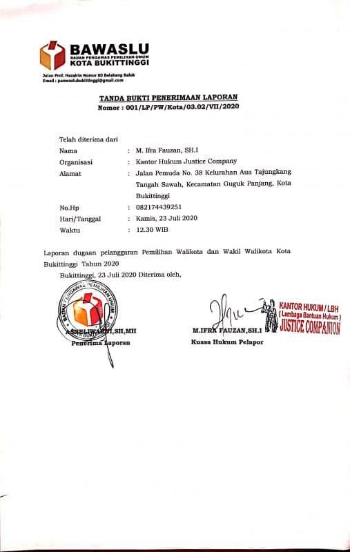 Dokumen Pelaporan pada Bawaslu kota Bukittinggi