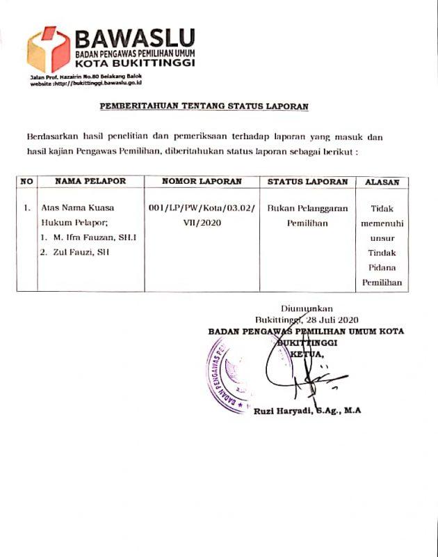 Surat Closing dari Bawaslu kota Bukittinggi