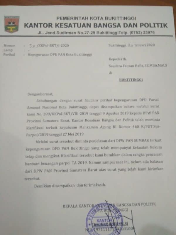 Surat Kesbangpol Kota Bukittinggi ke Fauzan Haviz, foto FR