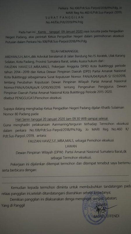 Surat dari Pengadilan ke para pihak terkait perkara PAN Bukittinggi, foto FR