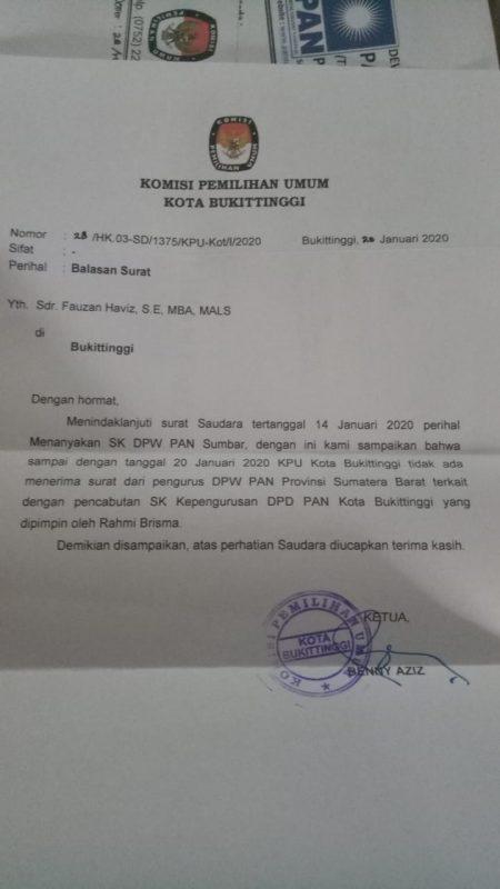 Surat KPU Bukittinggi ke Fauzan Haviz