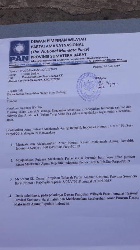 Surat DPW PAN Sumbar ke Pengadilan Negeri Kota Padang, foto FR