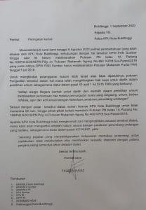 Surat Fauzan Haviz ke KPU Bukittinggi, foto ist