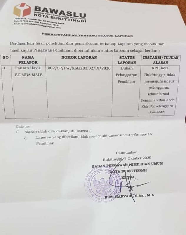 Jawaban Bawaslu Bukittinggi atas laporan Fauzan Haviz