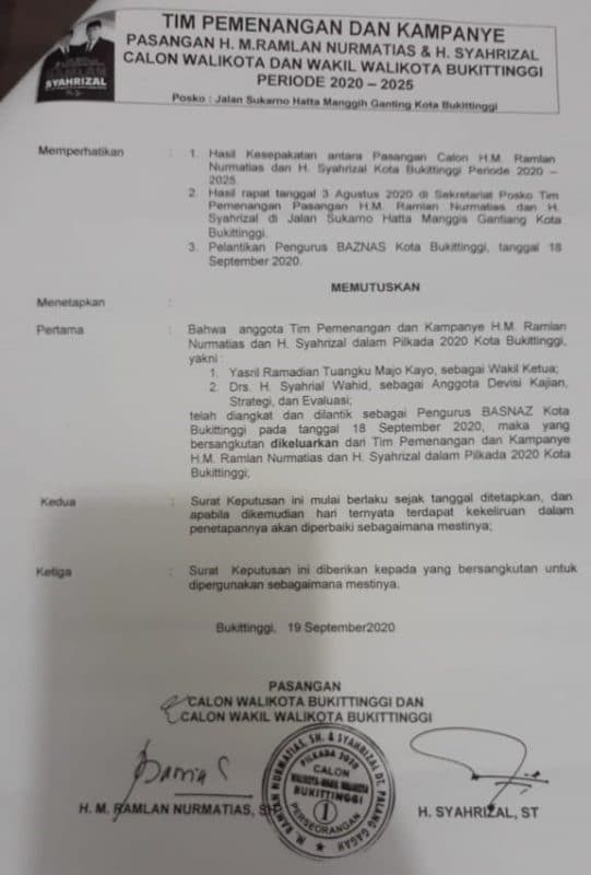 SK Tim Pemenangan H.M Ramlan Nurmatias - Syahrizal, dok ist