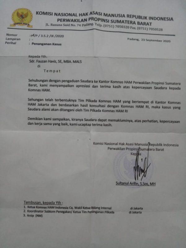 Surat dari Komnas HAM Sumbar