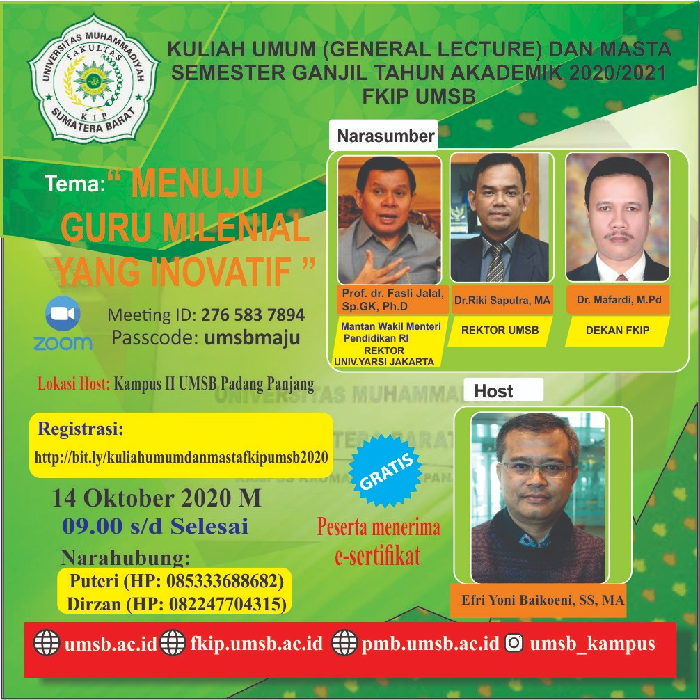 Prof. Fasli Jalal Kuliah Umum di UMSB