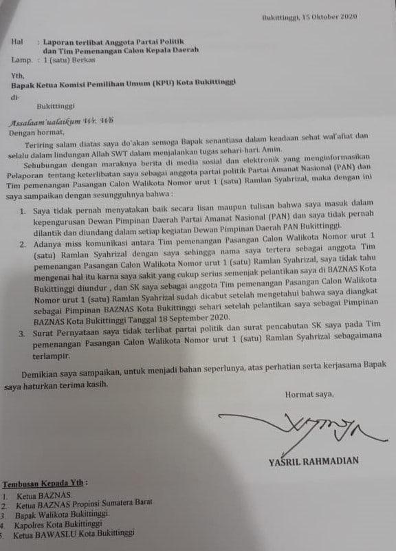 Surat Yasril Rahmadian ke KPU Bukittinggi, dok, ist