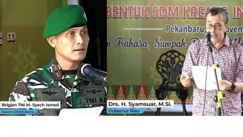 Danrem 031 & Gubernur Riau baca puisi