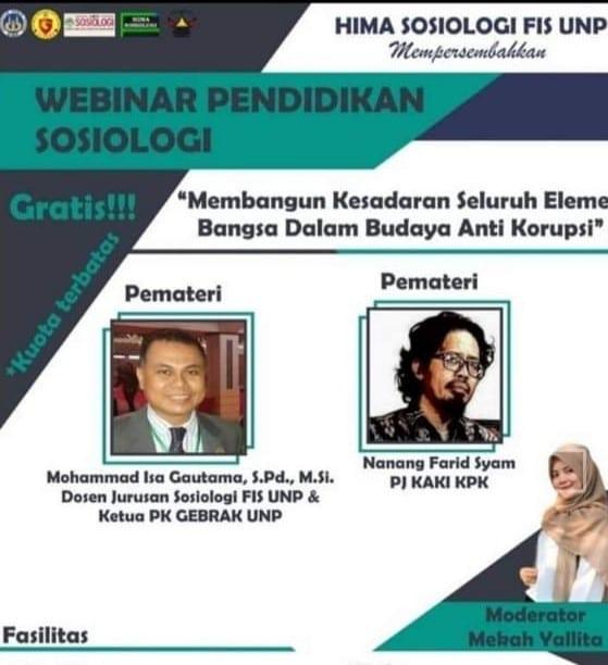 Webinar Anti Korupsi HIMA Sosiologi UNp - KPK