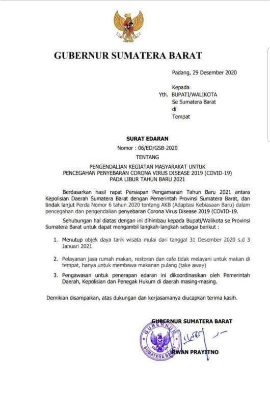 Surat Edaran Gubernur Sumatera Barat, doc ist.