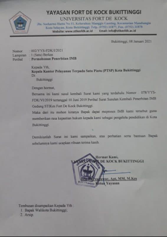 Surat YFdK ke Kantor Pelayanan Satu Pintu kota Bukittinggi, dok. ist