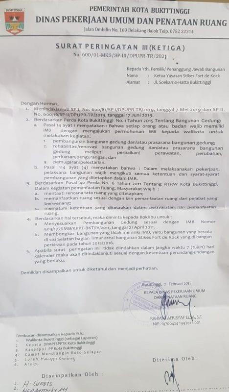 Surat peringatan ketiga (SP-3) yang diterbitkan Dinas Pekerjaan Umum dan Penataan Ruang Kota Bukittinggi, dok. ist