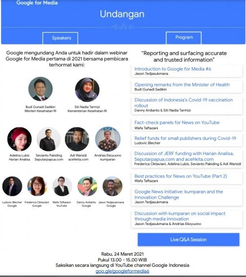 """Undangan webinar Google for Media 2021 tema """"Reporting and surfacing accurate and trusted information"""""""