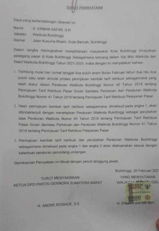 Surat pernyataan yang belum ditanda tangani. doc. ist